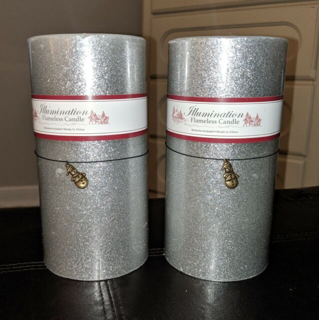 Avon 2 X Silver Glitter Flameless Candles Battery Operated For Sale Ebay