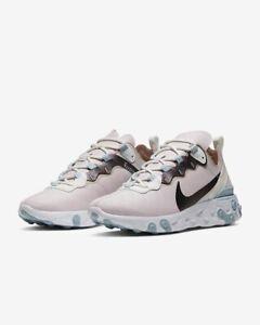 Da-Donna-Nike-reagire-elemento-55-UK-6-US-8-5-EUR-40-Rosa-Bianco-Oro-Rosa
