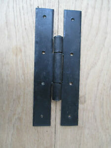 "Black hinges small handmade door cupboard wrought iron antique old  H 2/"" PAIR"