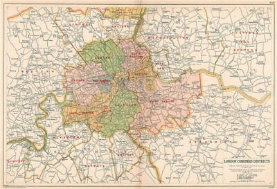 Districts Of London Map.London Coroners Districts Vintage Map Bacon 1927 Old Vintage Plan Chart Ebay
