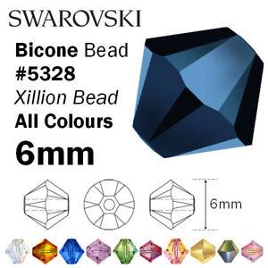 aafabc6e0 SWAROVSKI Crystal Bicone Xilion Beads 5328 - 6mm - All colours | eBay