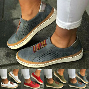 Women-039-s-Fashion-Casual-Hollow-Out-Round-Toe-Slip-On-Flat-Sneakers-Shoes-Size
