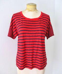 Splendid red navy blue stripe super soft supima cotton modal t-shirt top S