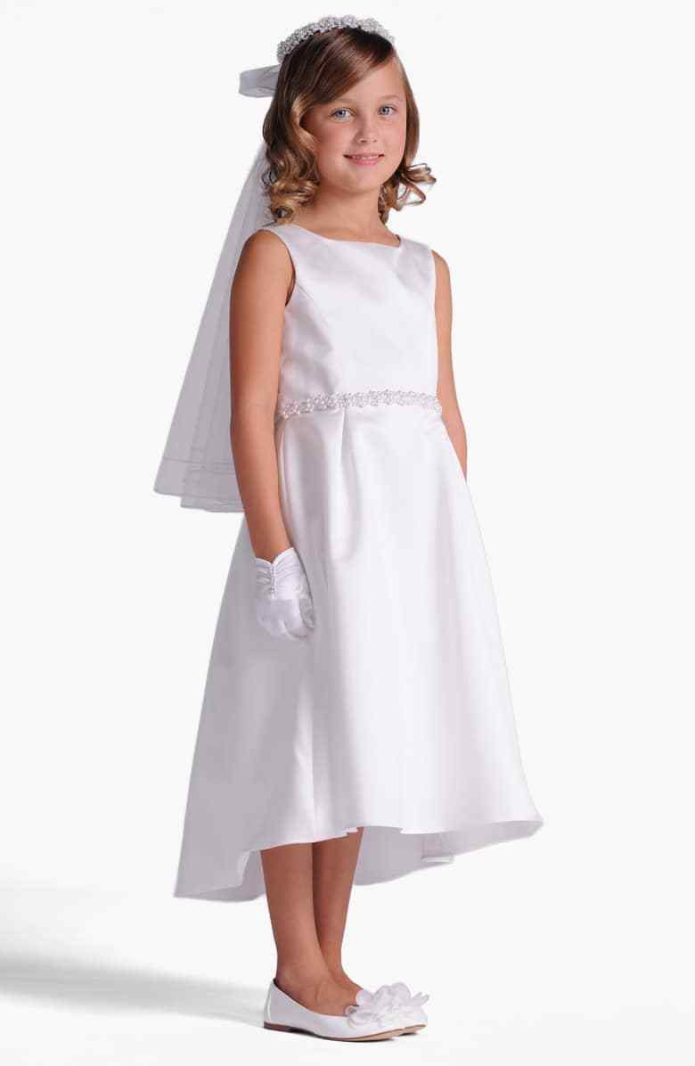 US Angela 7125 Girls White Sleeveless A-Line Dress Size 8