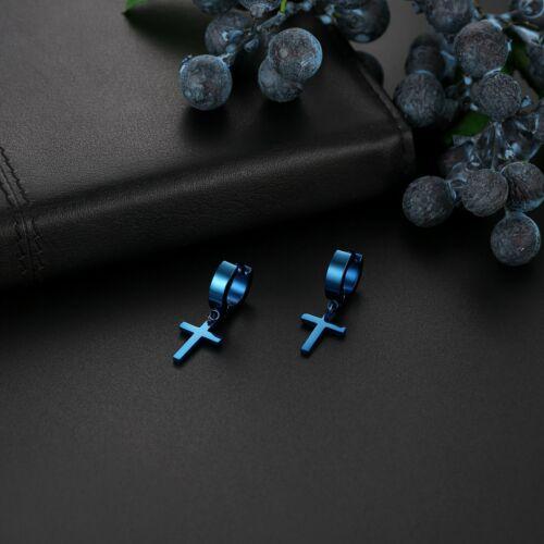 2pcs Men Women Stainless Steel Cross Drop Dangle Hoop Huggie Ear Stud Earrings