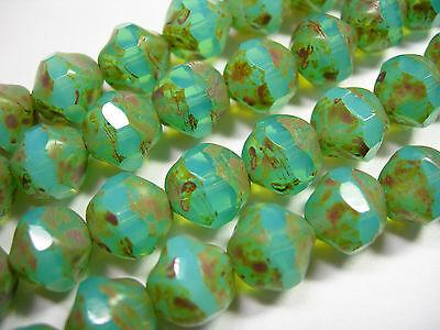 15 9mm Aqua Opal Picasso Firepolished Thru Cuts Czech Glass Beads