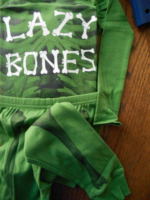 Gymboree / Crazy 8 Baby Boy Longsleeve/Pant Lazy Bones Green Pajamas