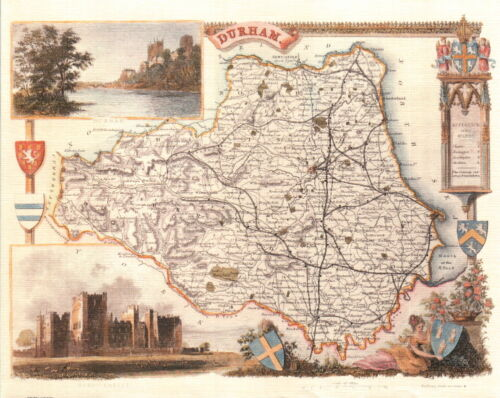Map of Durham Thomas Moule Map 19th Century Reproduction Durham Map