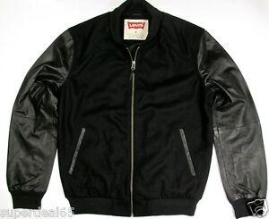 Levi S Leather Amp Wool Blend Varsity Jacket Black Levi