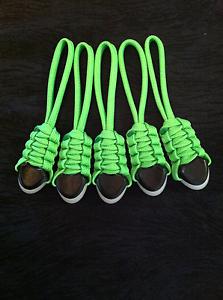 (5) Zipper Pulls - fits- 5.11 Tactical Rush Back Packs Molle Bags- Neon Green