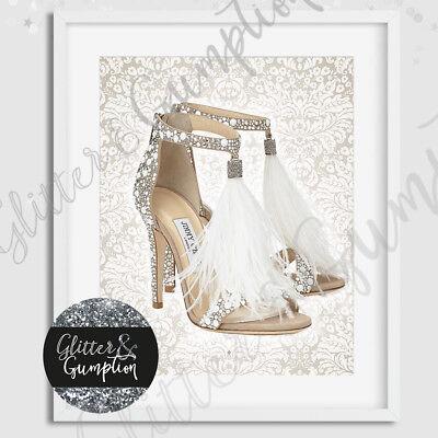 Fashion Art Feathther designer Heels beautiful damask beauty room print print