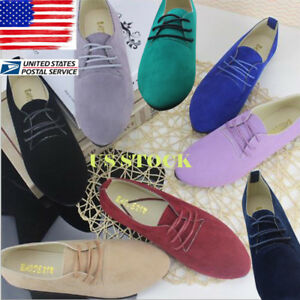 US-Ladies-Lace-up-Flat-Suede-Oxfords-Womens-Casual-Flat-Single-Boat-Shoes-Size