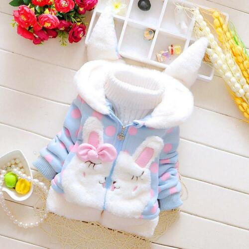 Winter Warm Hoodie Coat Baby Girls Kid Cute Rabbit Ear Jacket Clothes Outwear LG