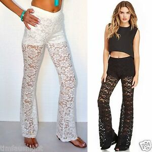 c6311a6eb944f Women's Girl's Sexy Beach Crochet Lace Flare Leg Pants Cover Up 6 ...