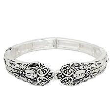 """Spoon Jewelry Bracelet Stretch Bangle Swirl Dotted SILVER Metal Classic 3/4""""W"""