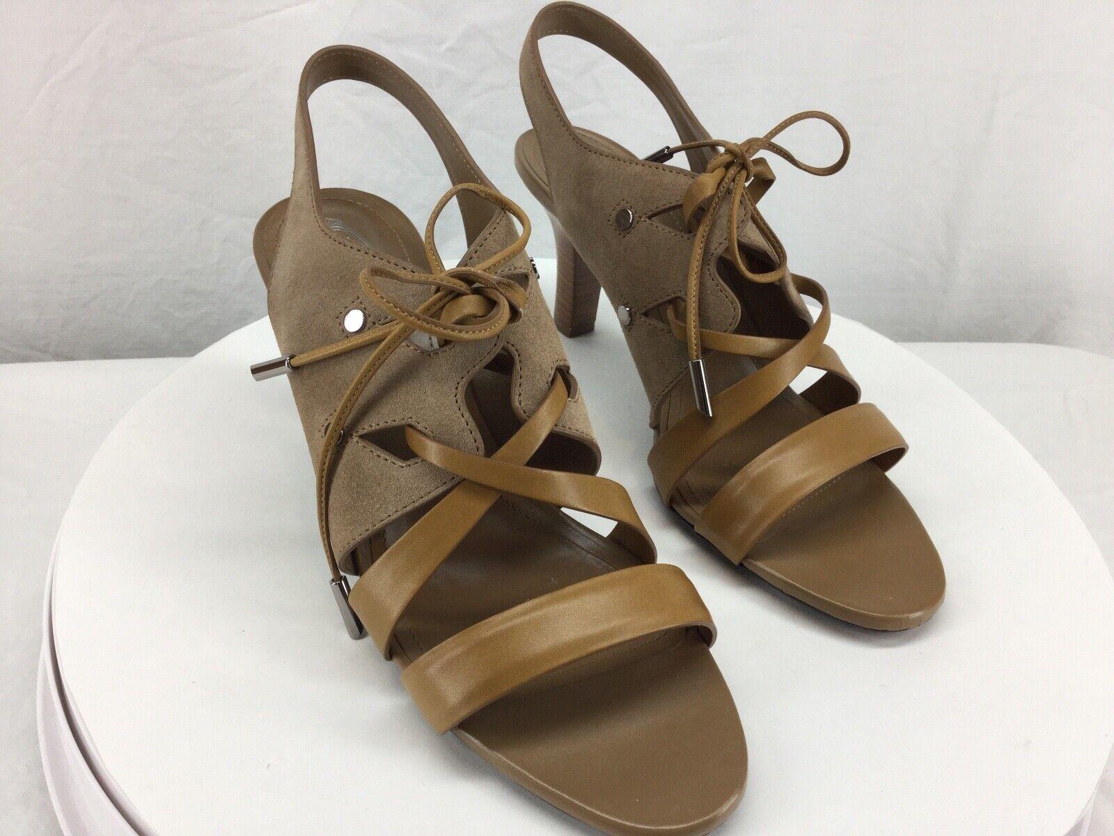 Tods Tan Suede Leather Strappy Lace -Up Slingback Dress  Sandal US 9.5 Mai indossato  prendiamo i clienti come nostro dio