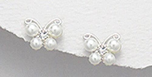 Solide Argent Sterling 8 mm d/'eau douce graines Perle Papillon Enfants Clous D/'Oreilles