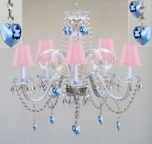 5 light venetian crystal chandelier pink shades blue hearts living image is loading 5 light venetian crystal chandelier pink shades blue aloadofball Images