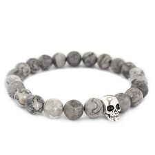 Men's 18kt White Gold Plating Skull Grey Jasper Elastic GEMSTONE Beaded Bracelet