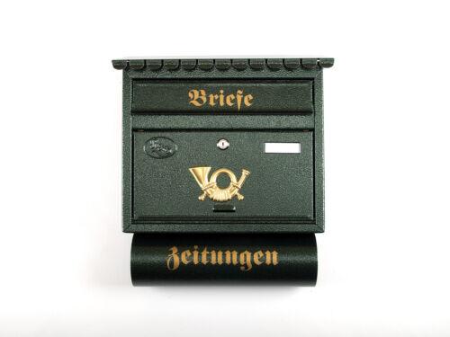 XXL Briefkasten Postkasten Grün Zeitungsrolle Nostalgie Namenschild Flachdach