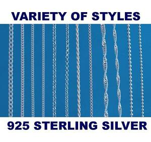 925-STERLING-SILVER-CHAIN-NECKLACE-CURB-BALL-BELCHER-VARIOUS-LENGTHS-AVAILABLE