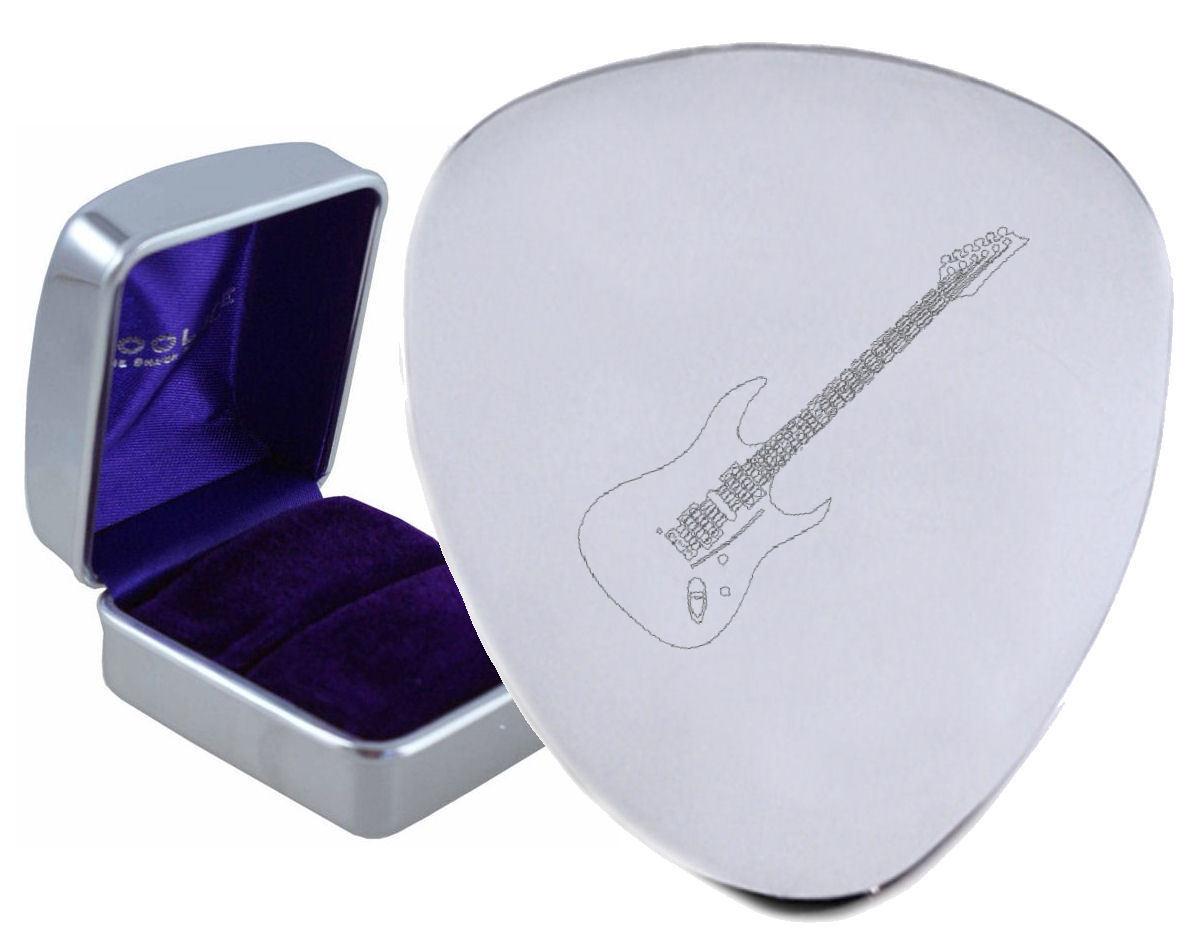 Stratocaster Stahl Gitarre Plektrum Graviertes - Optional Text auf Box