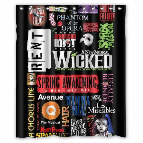 Customize Design Custom Broadway Musical Collage Shower Curtain 60x72 Inch