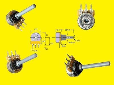 Preh Poti Dreh Potentiometer Poti 10K Ohm Mono 6mm 0,25W linear 5 Stück