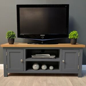 the latest 2ea9c 4a192 Details about Painted Oak TV Unit Large / Solid Wood / Dark Grey / TV Stand  / New Trend
