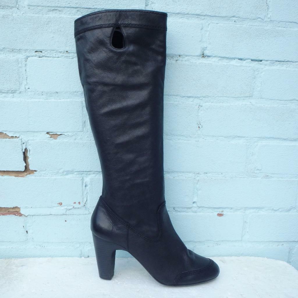 Laura Ashley CUERO BOTAS TALLA UK 7 EUR 40 Botas Zapatos para mujer negro