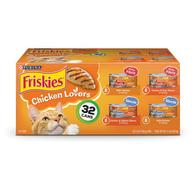 Purina Friskies Chicken Lovers Shreds and Filets Wet Cat Food Variety Pack 32 Cans