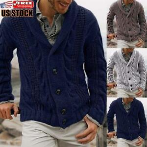 Mens-Chunky-Collar-Cardigan-Sweater-Buttons-Knitted-Jumper-Coat-Jacket-Warm-Tops