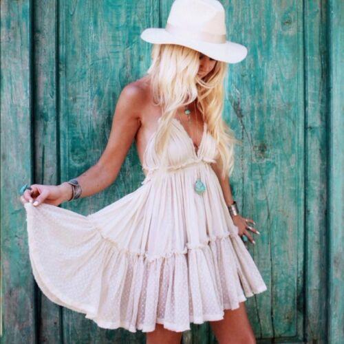 Free People 100 Degree Ivory Sand White Boho Date Party Beach Mini Dress New