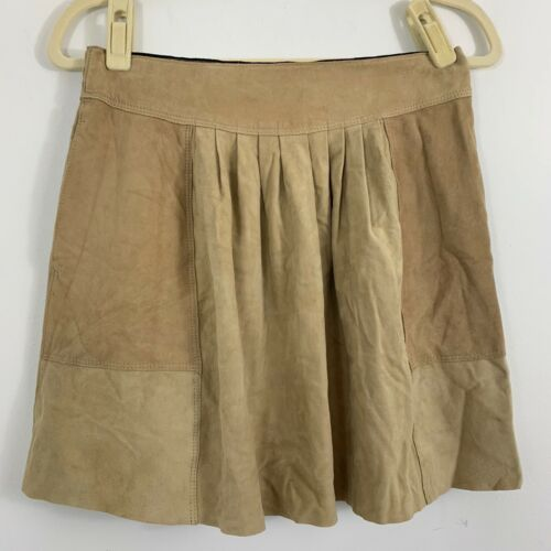 Rebecca Taylor Goat Leather Skirt Size 6 Tan Beige