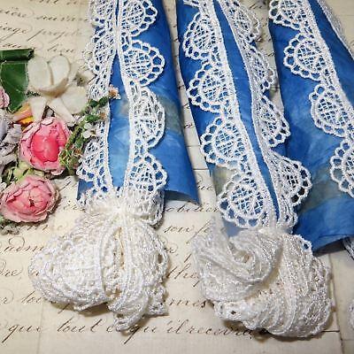 """1y VTG 1/"""" ECRU SCHIFFLI LACE FRENCH COTON WEDDING DOLL DRESS RIBBON TRIM VENISE"""
