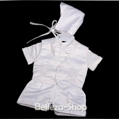 4 Pcs Baby Boy Satin Baptism Christening Short Sleeves Suit Bonnet 0-12m ST019