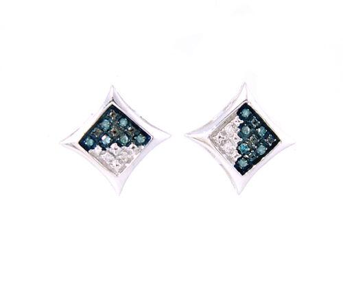 blue white diamond .05 carat kite star stud earrings screwback men unisex 925