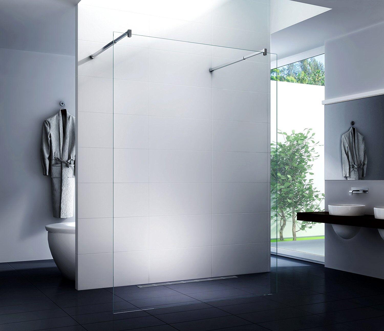 Luxus Duschtrennwand Freistehend Duschwand Walk-in 10mm  Klarglas 50 x200 cm