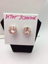 $25 Betsey Johnson Pink Faceted Stone Stud Earrings Marie Antoinette PK7