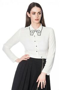White-Gothic-Rockabilly-Punk-Cross-Coffin-Undertaker-Blouse-Shirt-Banned-Apparel