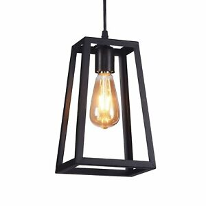 Details About 6 Modern Mini Pendant Light Black Metal Square Cage 1 Bulb Ceiling For Kitchen
