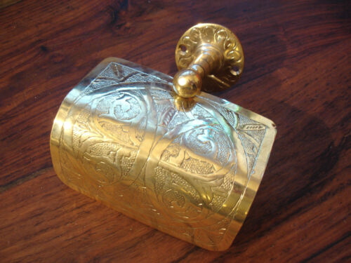Moroccan BRASS hand ENGRAVED gold colour wall mounted toilet roll holder