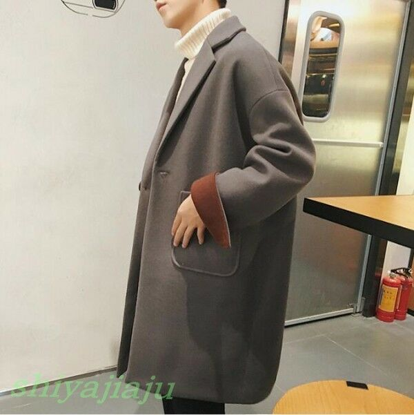 Winter Men's Lapel Loose Wool Coat Hot Youth Students Casual Suit Collar Outwear