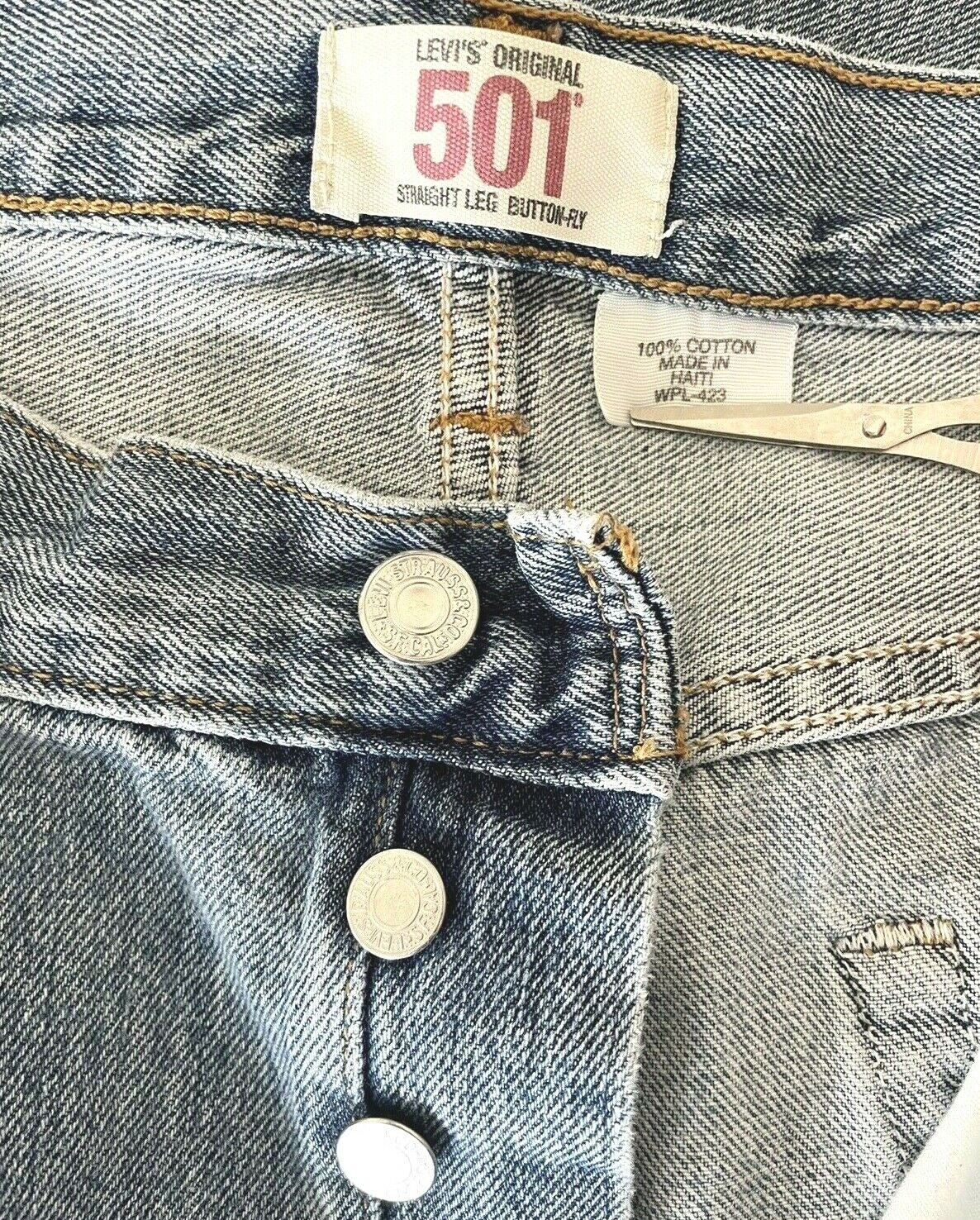 Levis 501 Jeans Mens Distressed Worn In MEASURES … - image 3