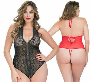 PLUS Size Lace TEDDY w Rhinestones, CROTCHLESS, Halter/Backless ...