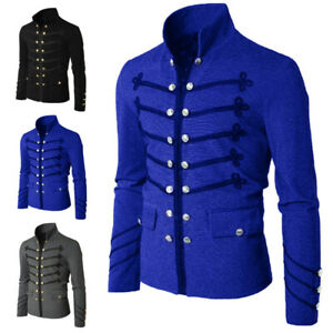 Men-039-s-Punk-Gothic-Officer-Military-Drummer-Parade-Jacket-Embroidery-Tops-Coats