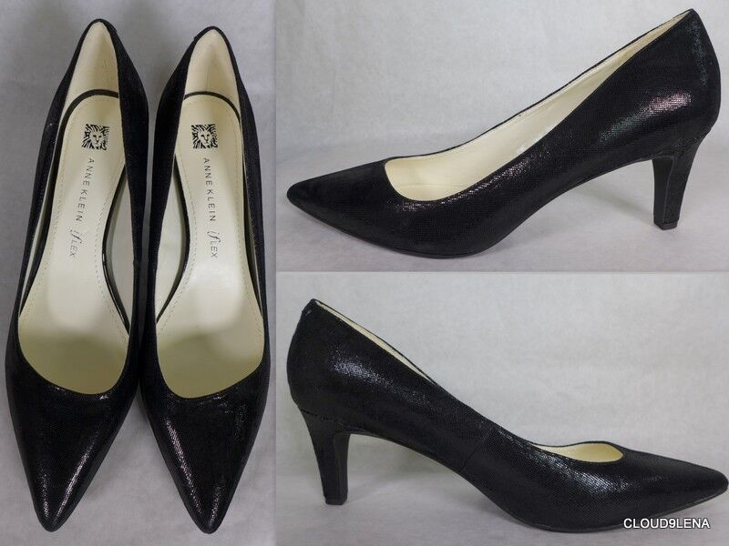 NWoB ANNE KLEIN iFlex 9.5M  Black Leather Dress Pump Shoes BARB
