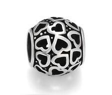 Stainless Steel Openwork Hearts European Beads For European Charm Bracelets