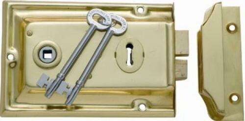 lane type black pressed metal rim lock and keeper with 2 keys and black knobs