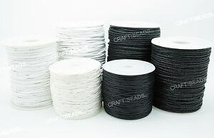 1mm 1.5mm 2mm - Black White Waxed Polished Cotton Braided Cord Macrame Beading